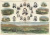 Portrait of Salt Lake City, and 16 important Mormon leaders